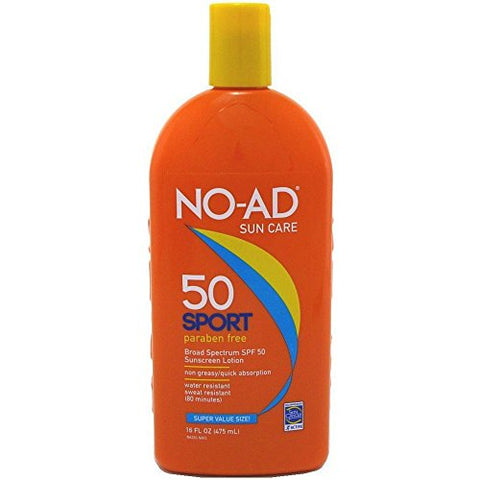No-Ad Sun Care Sport Sunscreen Lotion, SPF50, 16oz 897640002200A720
