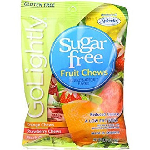 Go Lightly Sugar Free Candy, Fruit Chews, 2.75oz Bag 030568121404T185