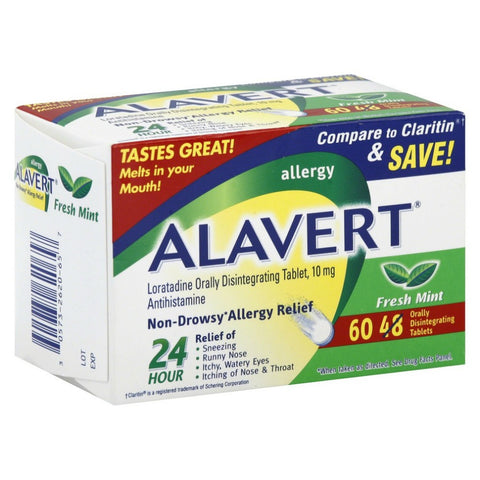 Alavert Allergy Orally Disintegrating Tabs, Mint, 60ct 305732620657A1550