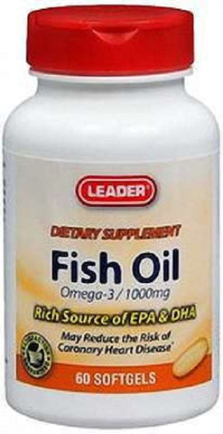 Leader Fish Oil Softgels, 1000mg, 60ct 096295117691A305