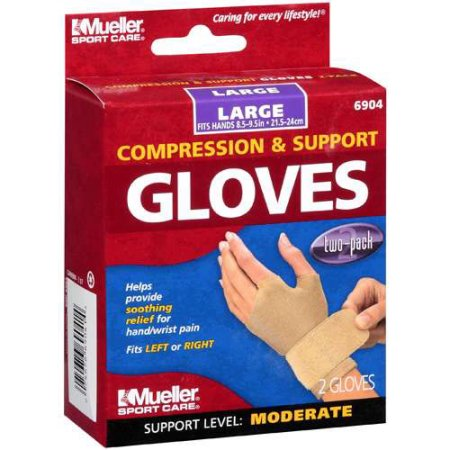 Mueller Compression Wrist Gloves-LG, 1ct 074676690414T670