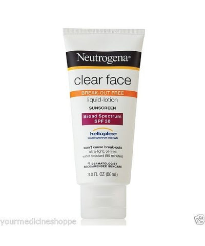 Neutrogena Clear Face Sunscreen Lotion, SPF 30, 3oz 086800860310A787