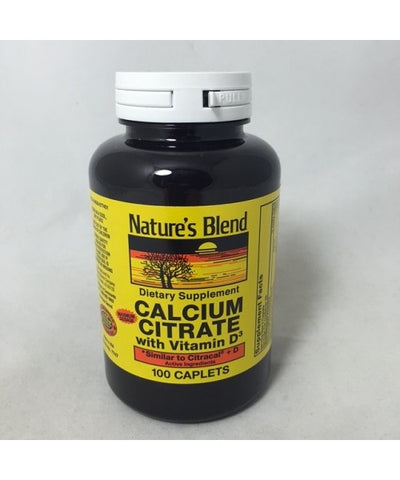 Nature's Blend Calcium Citrate With D3 Caplets, 100ct 079854077476A497