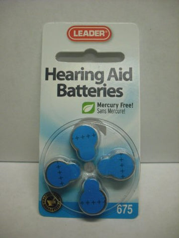 Leader Hearing Aid Batteries, #675, 4ct 096295120202A251
