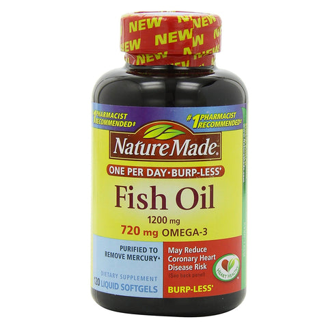 Nature Made Fish Oil, 1200mg, 720 mg OMEGA-3, 120ct 031604026646G1959
