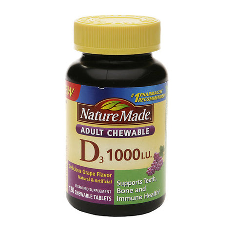 Nature Made D3 Adult Chewables, 1000IU, Grape, 120ct 031604027063A541
