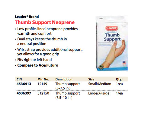 Leader Adjustable Thumb Support, Large/XLarge, 1ct 096295121506S800