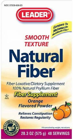 Leader Natural Fiber Supplement Powder, Orange, 20.3oz 096295122138A507