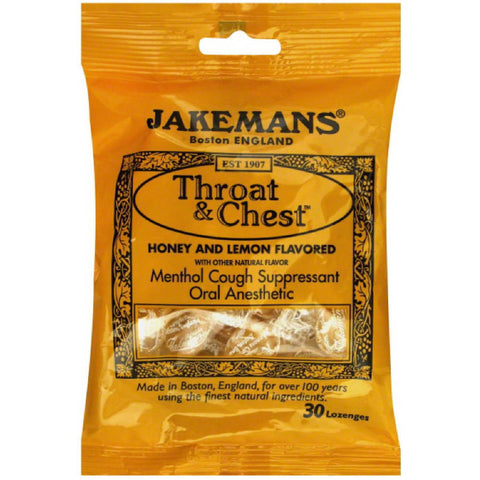 Jakemans Throat & Chest Lozenges, Honey & Lemon, 30ct 895164002584T130