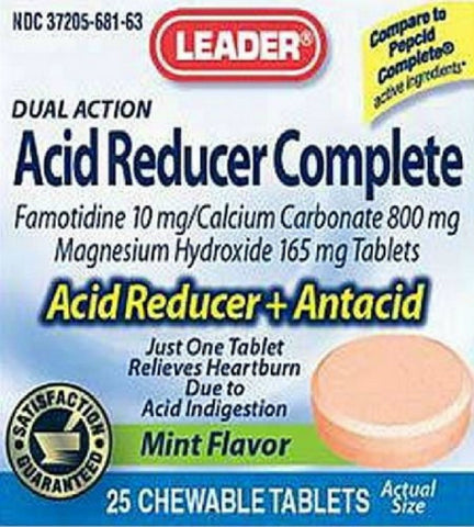 Leader Acid Reducer Complete Chewable Mint 25ct 096295122503A544