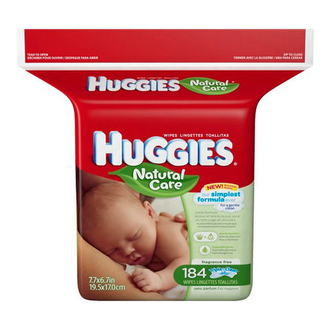 Huggies Natural Care Baby Wipes Refill, 184ct 036000318166S582