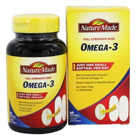 Nature Made Full Strength Mini Omega-3 Softgels, 60ct 031604028671A980