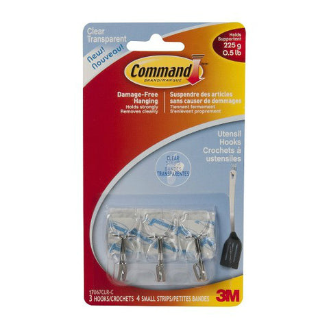 Command Utensil Hooks, Wire, Clear, Small, 3ct 051141347011S211