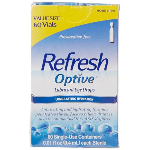 Refresh Optive Lubricant Eye Drops, Single Use, 60ct 300233416600A1694