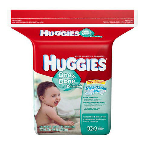 Huggies One and Done Baby Wipes refill, 184ct 036000167921S1746