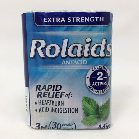 Rolaids Extra Strength Chewable Antacid Mint, 3 X 10ct 041167100165S128