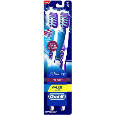 Oral-B 3D White Pro Flex Toothbrush, Soft, 2ct 300410101138S579