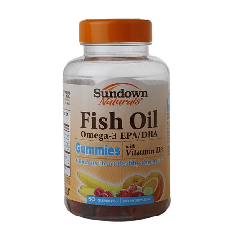 Sundown Naturals Fish Oil Omega-3 Gummies w/D3, 50ct 030768529581T647
