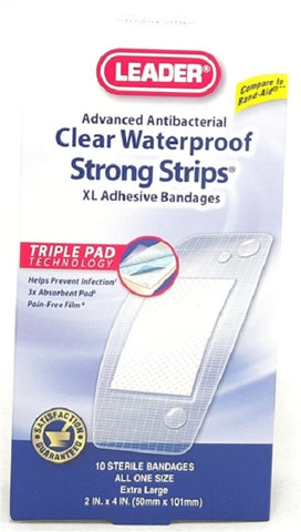 Leader Clear Waterproof Strong Strips XL 2inX4in 10ct 096295124033A135