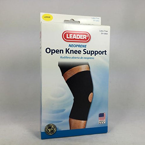 Leader Neoprene Open Patella Knee Support, Blk, Large 096295124651T817