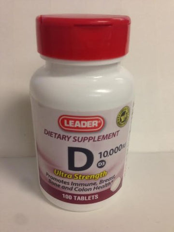 Leader Vitamin D Super Strength Tablets 10000IU 100ct 096295125641A674