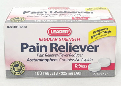 Leader Pain Reliever Tablets, 325mg, 100ct 096295129762A250