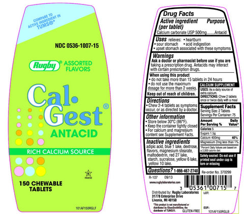 Rugby Cal-Gest Antacid Chewable Tabs, Assorted, 150ct 305361007157A261