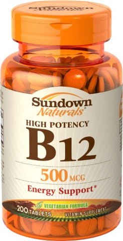 Sundown Naturals B12, 500mcg, Tablets, 200ct 030768126087S478