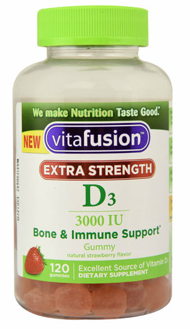 Vitafusion Extra Strength D3 Gummy, Strawberry, 120ct 027917000282A725