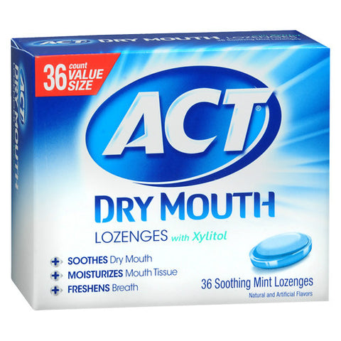 ACT Dry Mouth Lozenges w/Xylitol, Mint, 36ct 041167099865A504