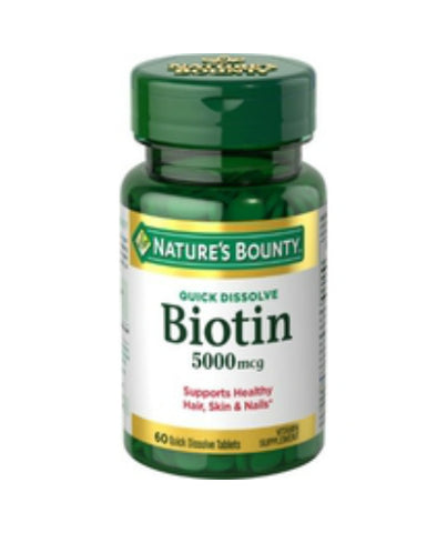 Nature's Bounty Biotin 5000 mcg, Tablets, 60ct 074312589133S601