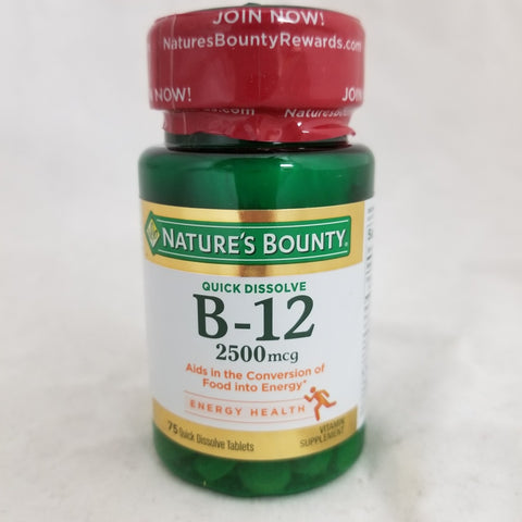 Nature's Bounty B-12 2500mcg Cherry Microlozenges 75ct 074312589119S552