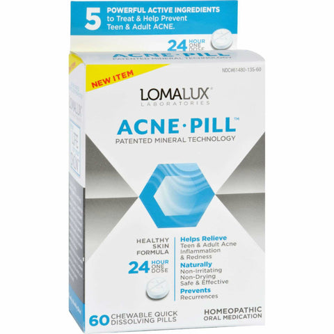 Loma Lux Homeopathic Acne Pill, Chewable, 60ct 361480135607S1294