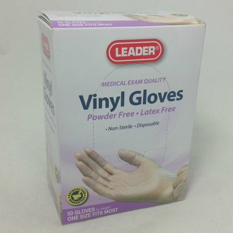 Leader Vinyl Gloves, OSFM, Powder/Latex Free, 50ct 096295127430A234
