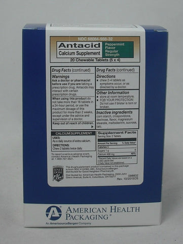 American Health Antacid Chewables, Peppermint, 20ct 368084988325A1058