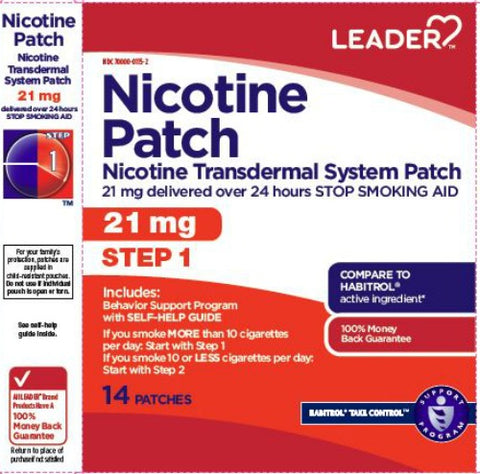 Leader Nicotine Transdermal Patch, Step 1, 21mg, 14ct 096295127881A2652