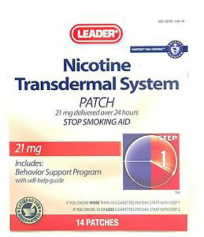 Leader Nicotine Transdermal Patch, Step 1, 7ct 096295127867A1049