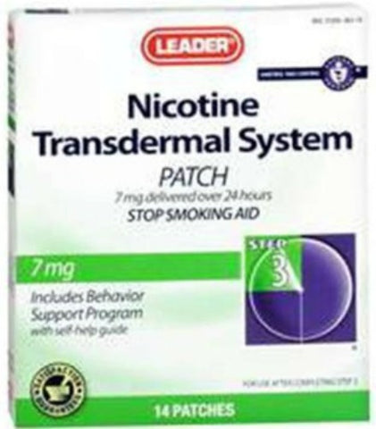 Leader Nicotine Step 3 Transdermal Patch, 14mg, 7ct 096295127874A1065