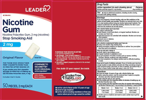 Leader Nicotine Gum, Original, 2mg, 50ct 096295128550A1023