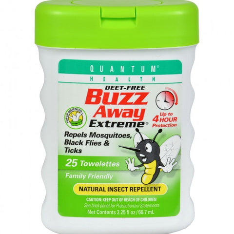 Buzz Away Insect Repellant Towelettes, Deet Free, 25ct 046985016575A728