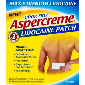 Aspercreme Max Strength Lidocaine Patch, 5ct 041167058404A590