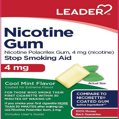 Leader Nicotine Gum, 4mg, Cool Mint, 100ct 096295128666S3365