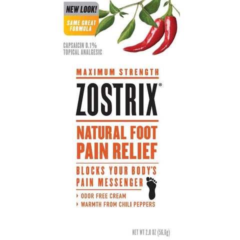 Zostrix Natural Foot Pain Relief Cream, 2oz 760569556027A1194