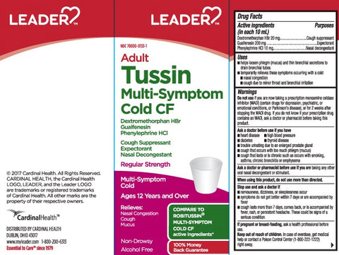 Leader Adult Tussin Multi-Symptom Cold CF, 8oz 096295129403E360