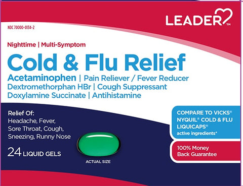 Leader Cold & Flu Relief Liquid Gels, Night Time, 24ct 096295129380E406