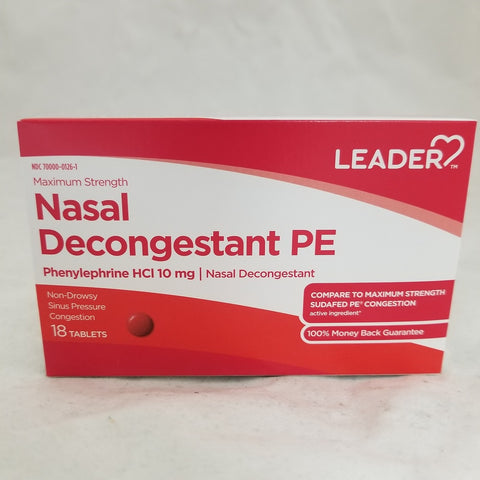 Leader Nasal Decongestant PE Tablets, 10mg, 18ct 096295129496A105