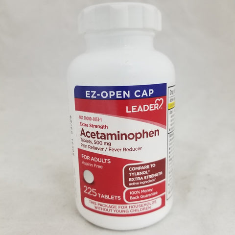 Leader Extra Strength Acetaminophen 500mg Tablet 225ct 096295129786S559