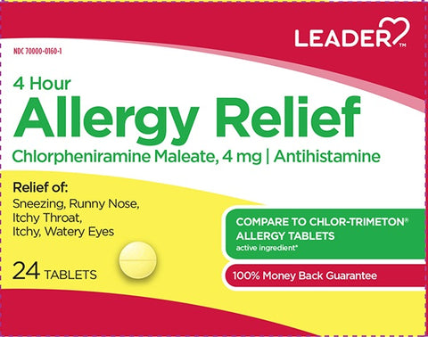 Leader 4hr Allergy Relief Tablets, 4mg, 24ct 096295129885A125
