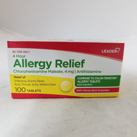 Leader 4 Hour Allergy Relief, 4mg, 100ct 096295129892A129