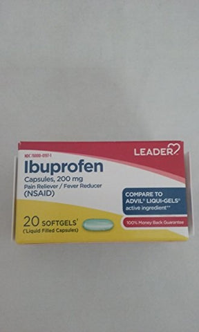 Leader Ibuprofen 200mg Softgels, 20ct 096295130485S235